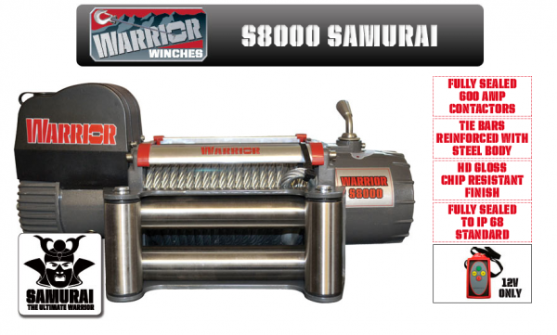Лебедка за пътна помощ WARRIOR SAMURAI S8000 -12V/24V - 3629 kg / 8000 LBS - електрическа - стоманено въже - за джип - 4x4 -offroad - SUV - платформа | Rudimpex.com- 2 години гаранция