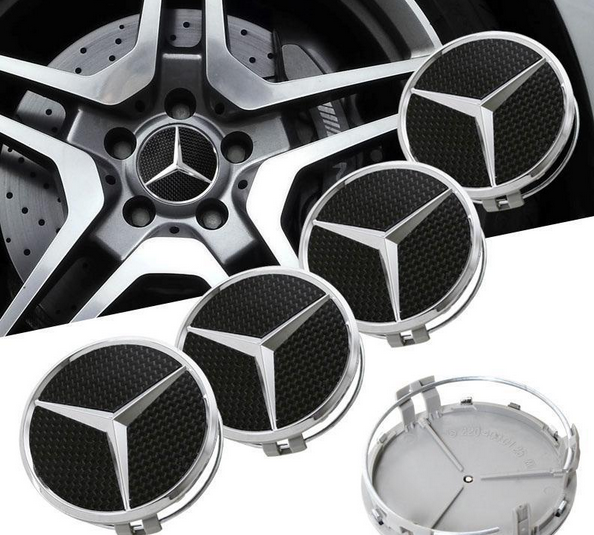 mercedes wheel center hub caps chrome 75 mm. Black Bedroom Furniture Sets. Home Design Ideas