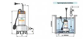 Италианска потопяема дренажна помпа за мръсна вода CITY PUMPS RANGER 10/35MSS / дебит 300 Л/МИН-1HP- 2 години гаранция